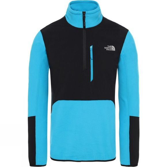 The North Face Mens Glacier Pro 1/4 Zip Fleece Acoustic Blue/Tnf Black