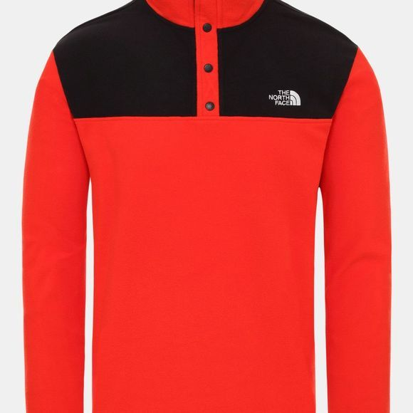 The North Face Mens Tka Glacier Snap-Neck Fleece Fiery Red/TNF Black