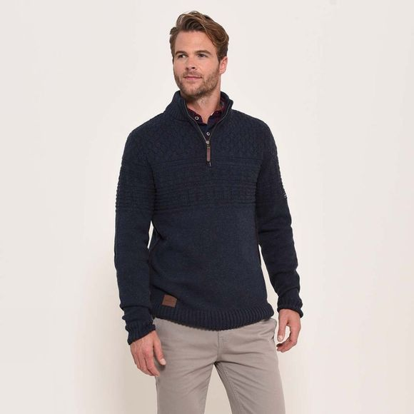 Brakeburn 3/4 zip neck jumper Navy