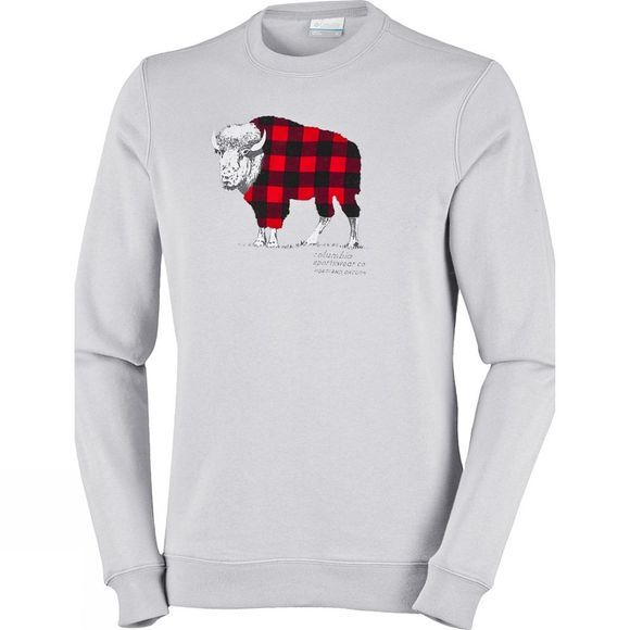 Columbia Mens CSC Check The Buffalo Crew Sweatshirt Grey Heather