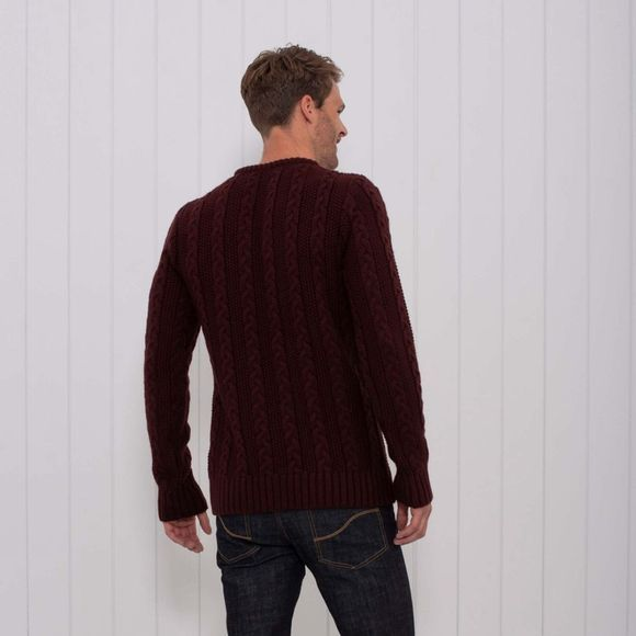 Brakeburn Mens Knitted Cable Jumper Burgundy