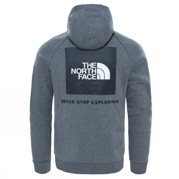 The North Face Mens Raglan Red Box Hoodie Medium Grey Heather
