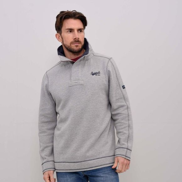 Brakeburn Mens Button Neck Hoody Grey