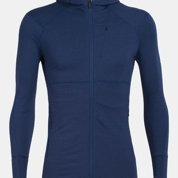 Icebreaker Mens Quantum II LS Zip Hood Estate Blue