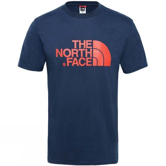 The North Face Mens Short Sleeve Easy Tee Urban Navy/Fiery Red