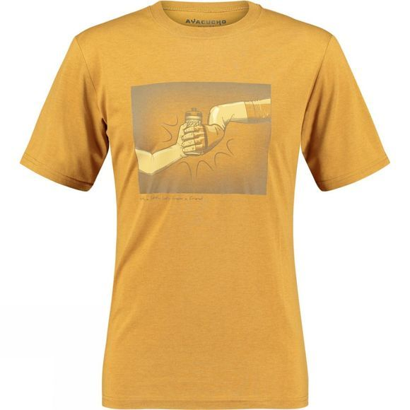 Ayacucho Mens Sticky Bottle T-Shirt Old Gold