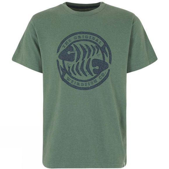 Weird Fish Mens WF Surf Branded Graphic T Shirt Duck Green Marl
