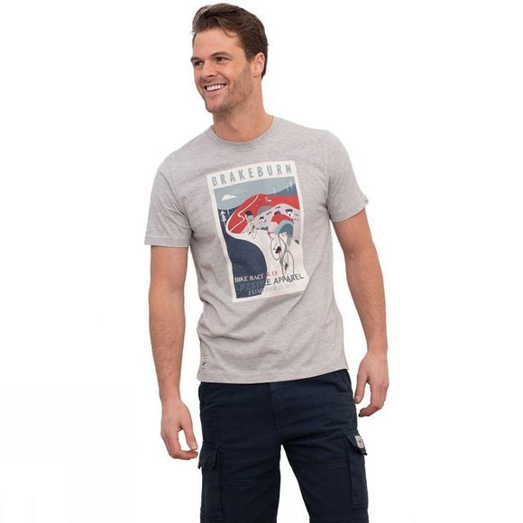 Brakeburn Men's Vintage Bike Poster Tee Light Grey Marl