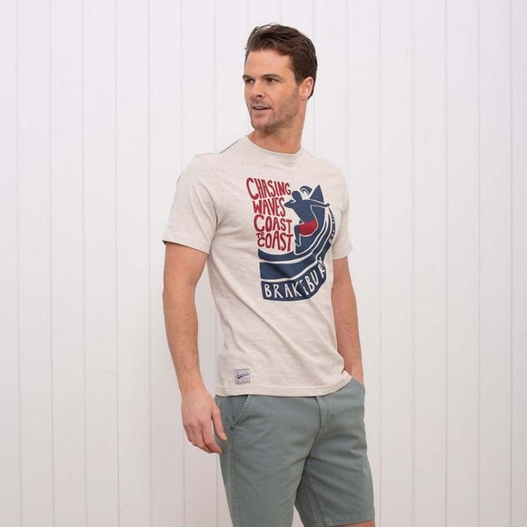 Brakeburn Men's Chasing Waves Tee ECRU