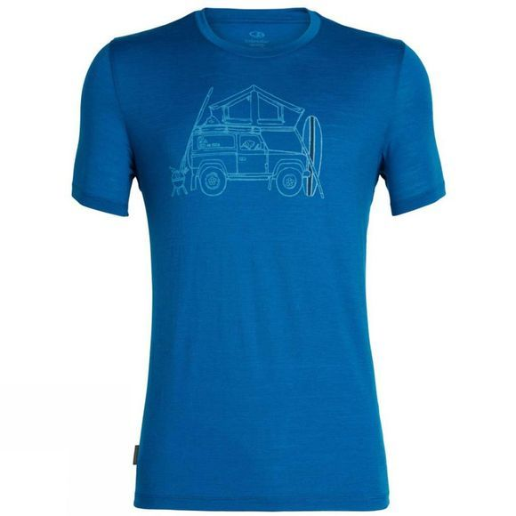 Icebreaker Mens Tech Lite Short Sleeve Crewe Surfspot Camper T-Shirt Isle
