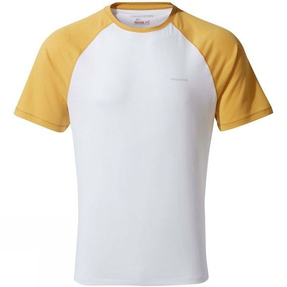 Craghoppers Mens Nosilife Anello Short Sleeved T-Shirt Indian Yellow / Optic White