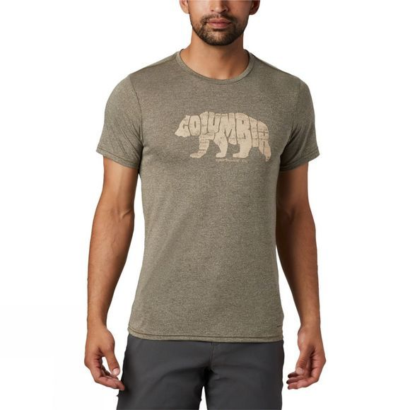 Columbia Mens Terra Vale™ II SS Tee New Olive Heather, Grizzly Walk