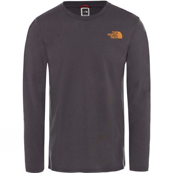 The North Face Mens Long Sleeve Easy Tee  Asphalt Grey/Citrine Yellow