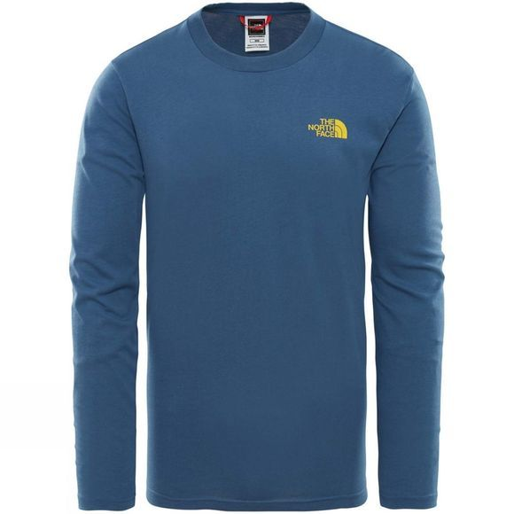 The North Face Mens Long Sleeve Easy Tee  Shady Blue/Leopard Yellow