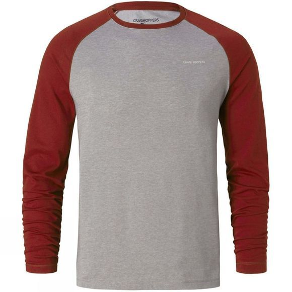 Craghoppers Mens NosiLife Bayame Long Sleeve T-Shirt Red Earth/Soft Grey Marl