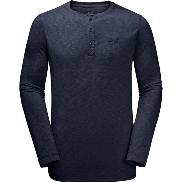 Jack Wolfskin Mens Winter Travel Henley Long Sleeve Top Night Blue