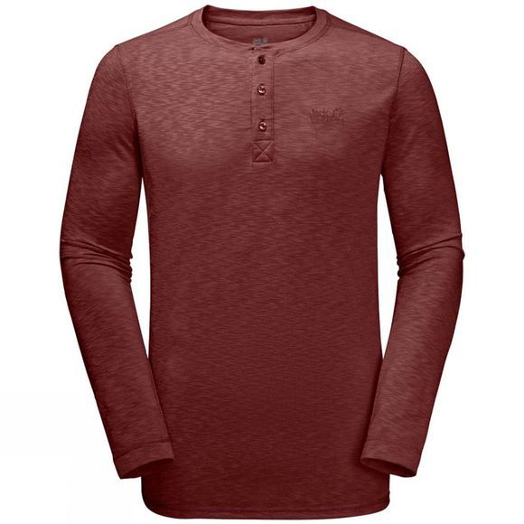 Jack Wolfskin Mens Winter Travel Henley Long Sleeve Top Redwood