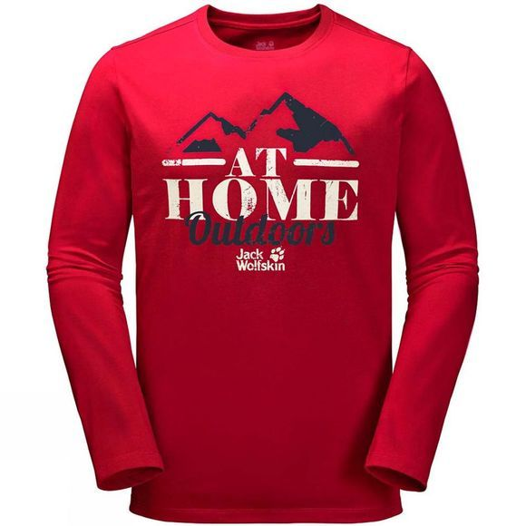 Jack Wolfskin Mens At Home Long Sleeve Top Ruby Red