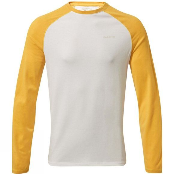 Craghoppers Mens Nosilife Bayame II Long Sleeved T-Shirt Indian Yellow / Optical White