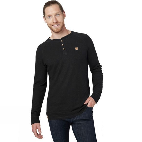 Tentree Boulder Long Sleeve Henley Tee Meteorite Black