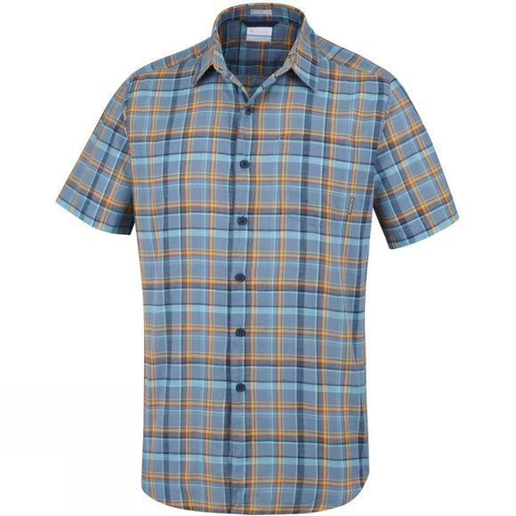 Columbia Mens Under Exposure Yarn Dye Short Sleeve Shirt Mountain Plaid