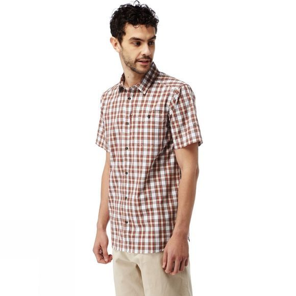 Craghoppers Mens Elmwood Short-Sleeved Check Shirt Carmine Red Combo