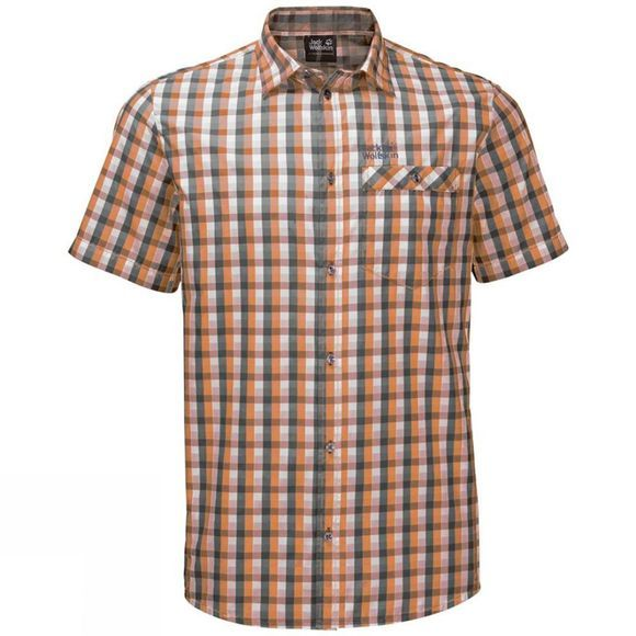 Jack Wolfskin Mens Napo River Shirt Desert Orange Checks