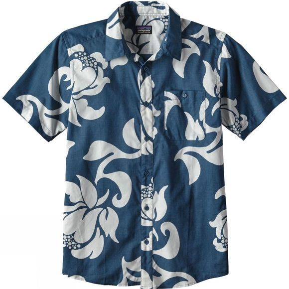 Patagonia Mens Go To Shirt Exotic Floral: Glass Blue