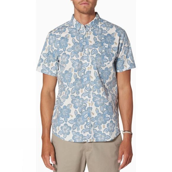 Reef Mens Malifloral Short Sleeve Shirt Blue