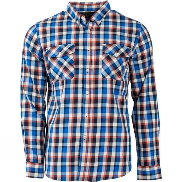 United By Blue Mens Hawkweed Plaid Shirt Orange/Navy