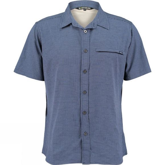 Ayacucho Mens Hiker II Stretch Anti Mosquito Short Sleeve Shirt Navy Check