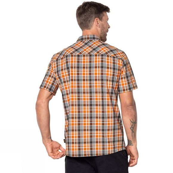 Jack Wolfskin Mens Saint Elmos Shirt Desert Orange Checks
