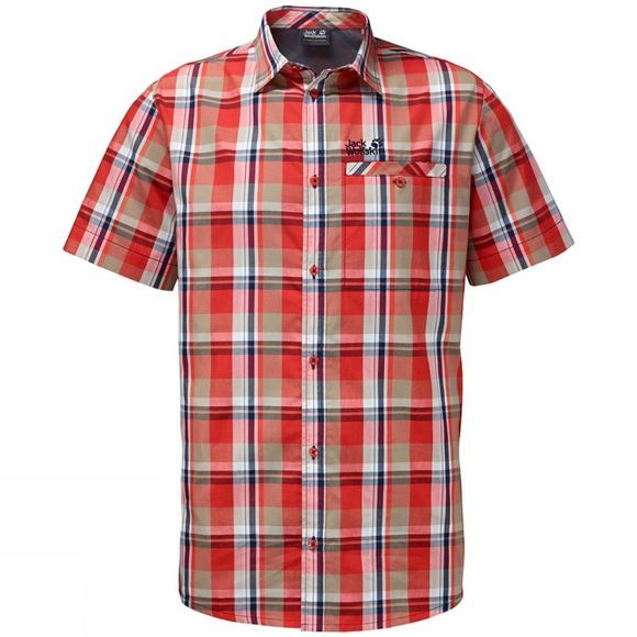 Jack Wolfskin Mens Fairford Shirt Fiery Red Checks