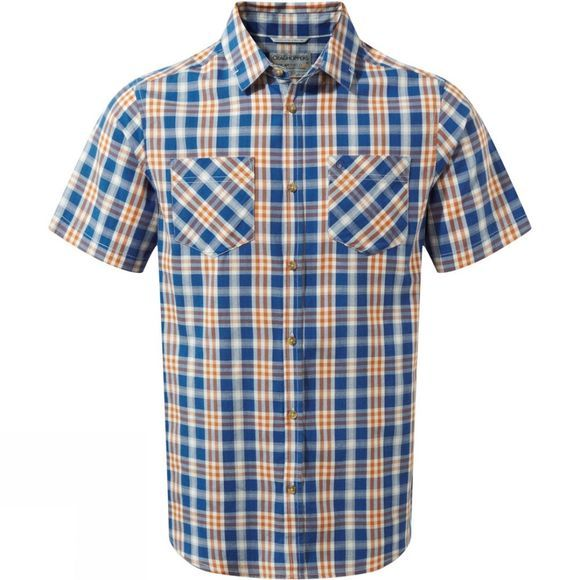 Craghoppers Mens Jamieson Short Sleeve Check Shirt Deep Blue