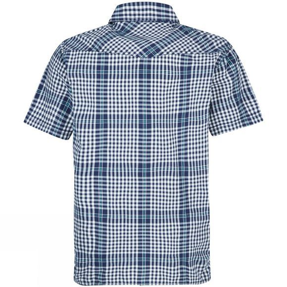 Weird Fish Mens Frobe Short Sleeve Check Shirt Maritime Blue
