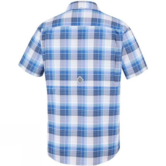 Columbia Mens Cascade Explorer Plaid Short Sleeve Shirt Azul Plaid