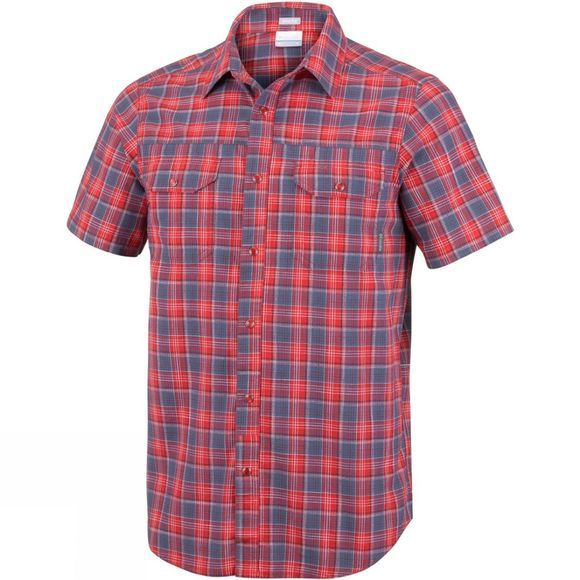 Columbia Mens Leadville Ridge Short Sleeve Shirt Red Spark Small Plaid