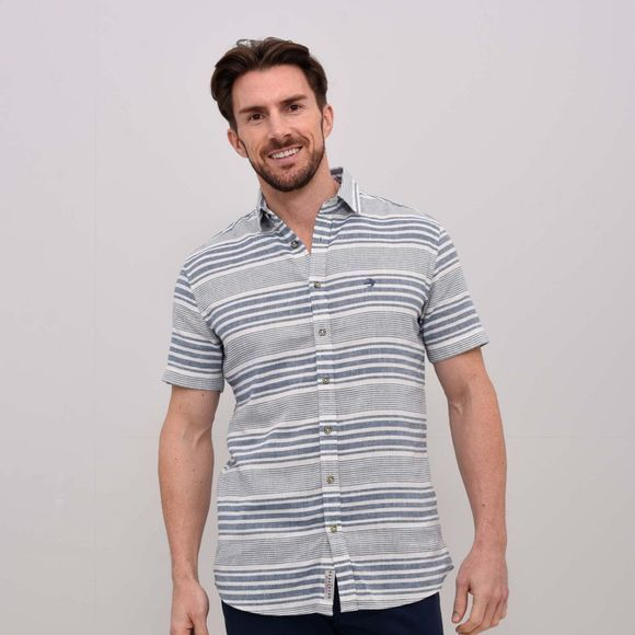 Mens Stripe Linen Shirt