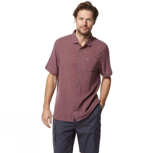 Craghoppers Mens Riviera Short Sleeve Shirt Smoked Mulberry
