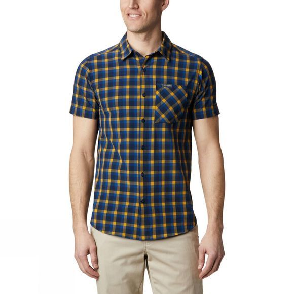 Columbia Mens Triple Canyon™ SS Shirt Azul, Mini Tonal Plaid