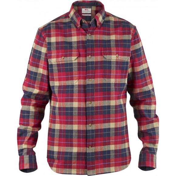 Fjallraven Mens Singi Heavy Flannel Shirt Deep Red