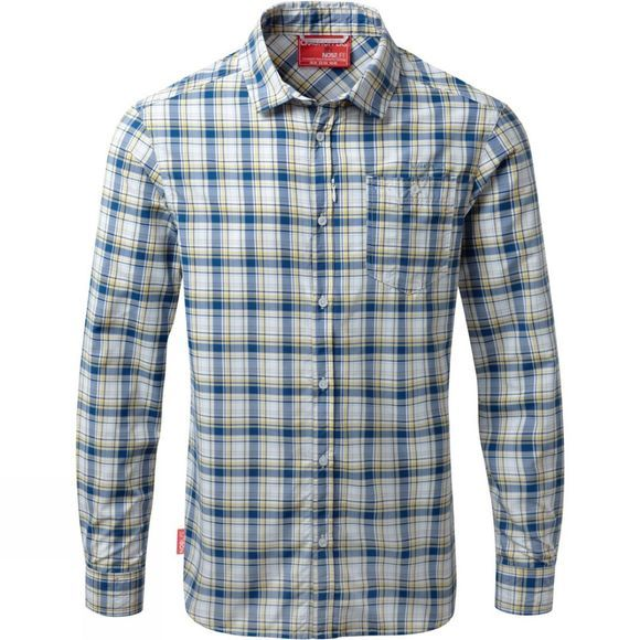 Craghoppers Mens Nosilife Prospect Long Sleeved Check Shirt Deep Blue Combo