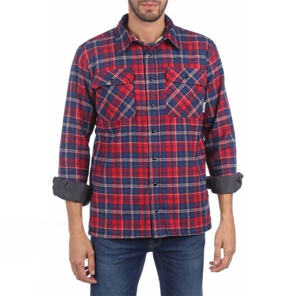 Ayacucho Mens Flannel Padded Shirt Navy/Red Check