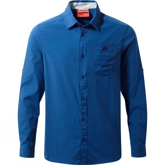 Craghoppers Mens NosiLife Tatton Long Sleeve Shirt Deep Blue