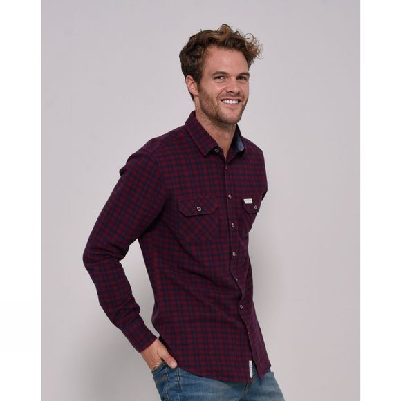Brakeburn Mens Long Sleeve Flannel Shirt Burgundy