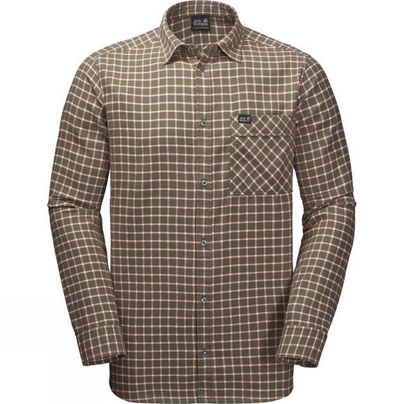 Jack Wolfskin Mens Fraser Island Shirt Woodland Green Checks
