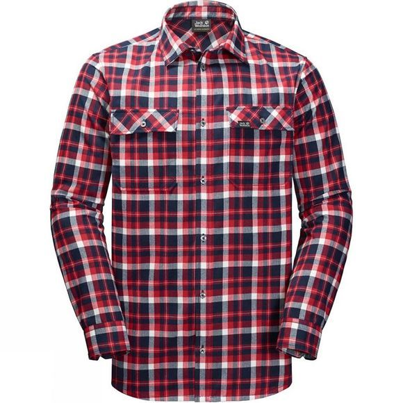 Jack Wolfskin Mens Bow Valley Shirt Red Blue Checks