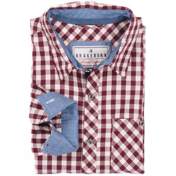 Brakeburn Mens Gingham Flannel Long Sleeve Shirt Burgundy
