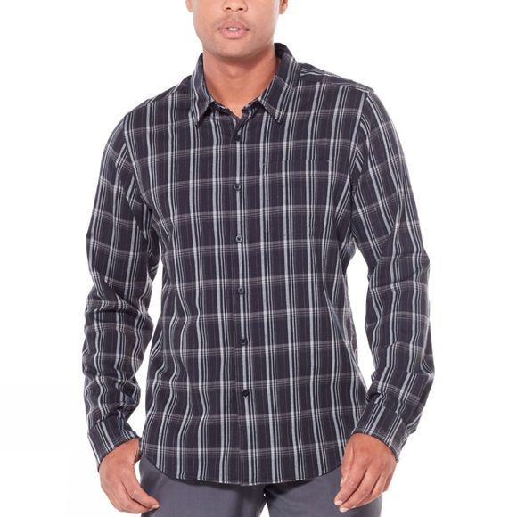 Icebreaker Mens Compass Flannel Long Sleeve Shirt Black/Monsoon/Plaid