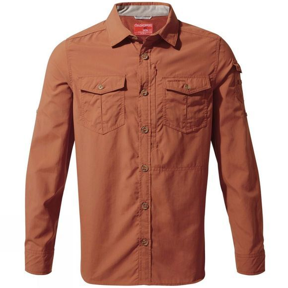 Craghoppers Mens NosiLife Adventure II Long Sleeved Shirt Burnt Whisky